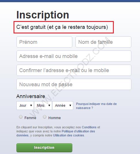 Formulaire Facebook, permet de créer un nouveau compte