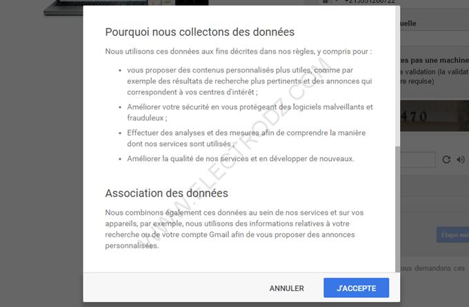 Étape de création d'un compte Gmail