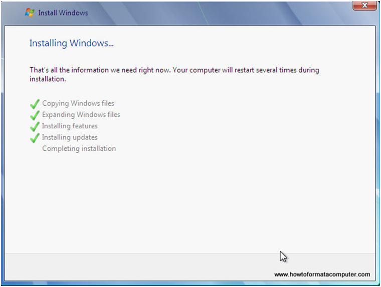 Avancement de l'installation de Windows