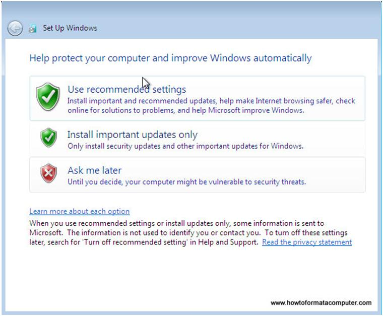 Options de mise à jour Windows