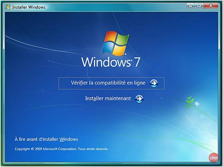 Lancer l'installation de Windows
