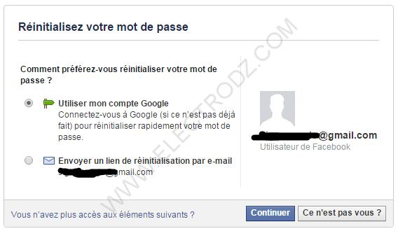 Récupérer mot de passe piraté Facebook