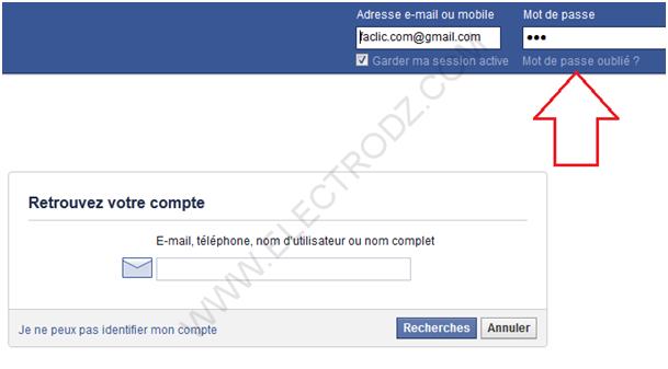 Mot de passe Facebook perdu