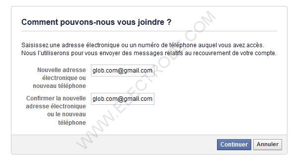 Indiquer un mail de contact