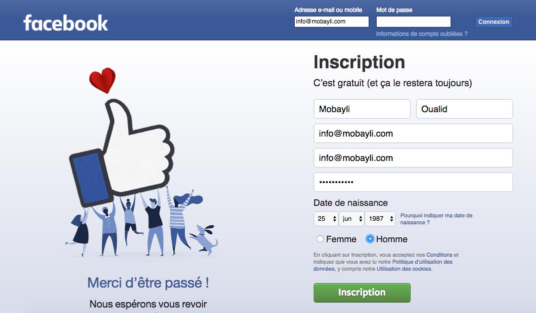 Nouveau compte Facebook