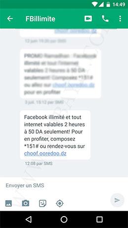 Offre Ooredoo 50Mo internet et Facebook illimité