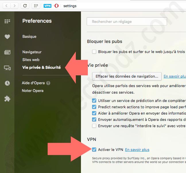 Activer VPN sur Opera