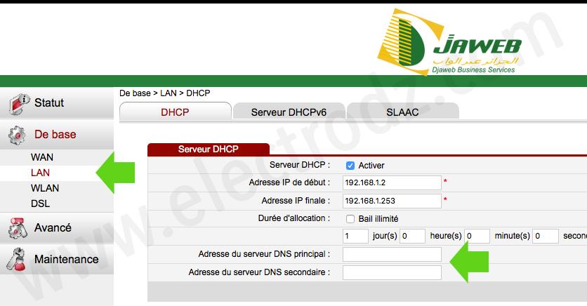 Changement DNS Modem Algérie Télécom