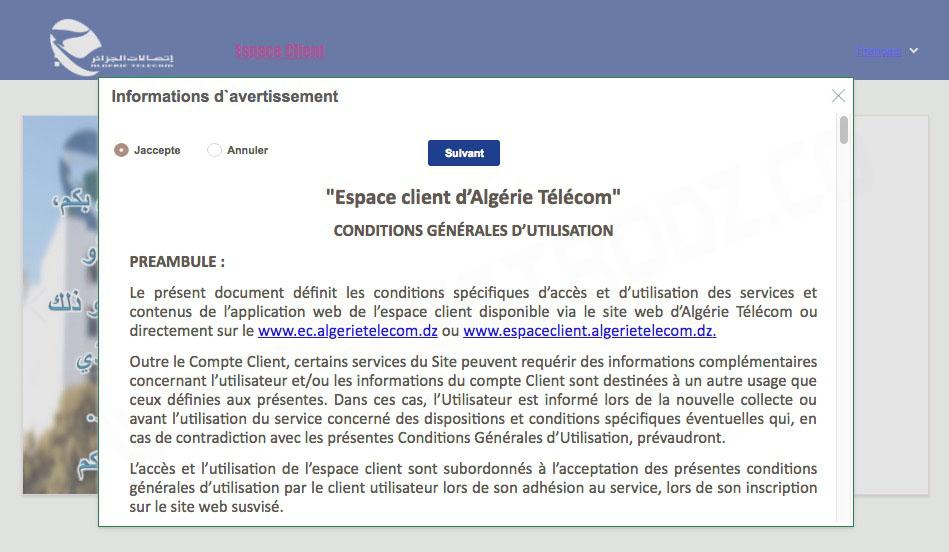 Conditions d'utilisation plateforme 4G LTE