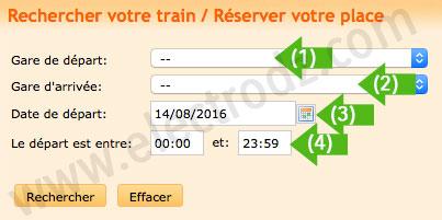 Formulaire SNTF horaires des trains