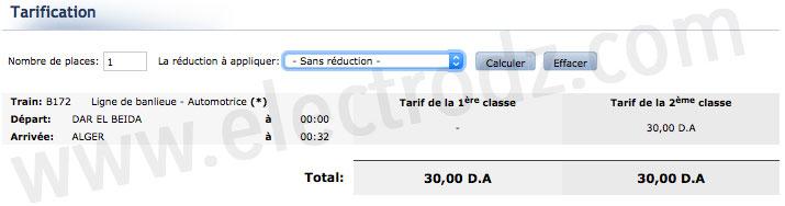 Prix train Dar El Beida - Alger