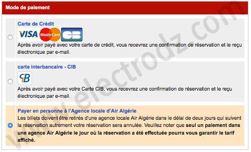 Payement en ligne Air ALgérie