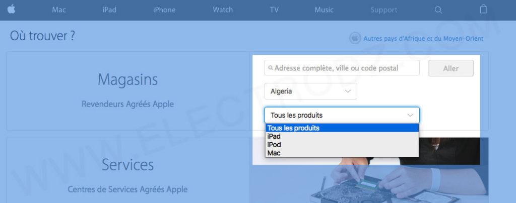 Recherche de revendeur officiel Apple Algérie