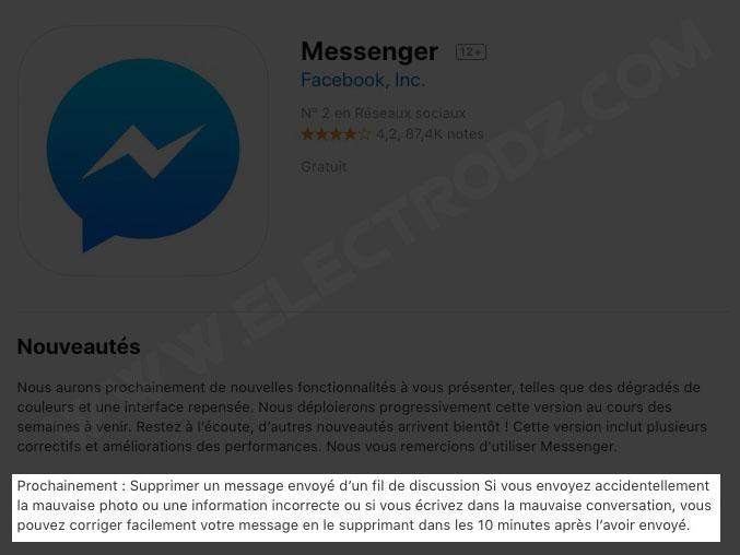 Mise à jour prochaine de Messenger