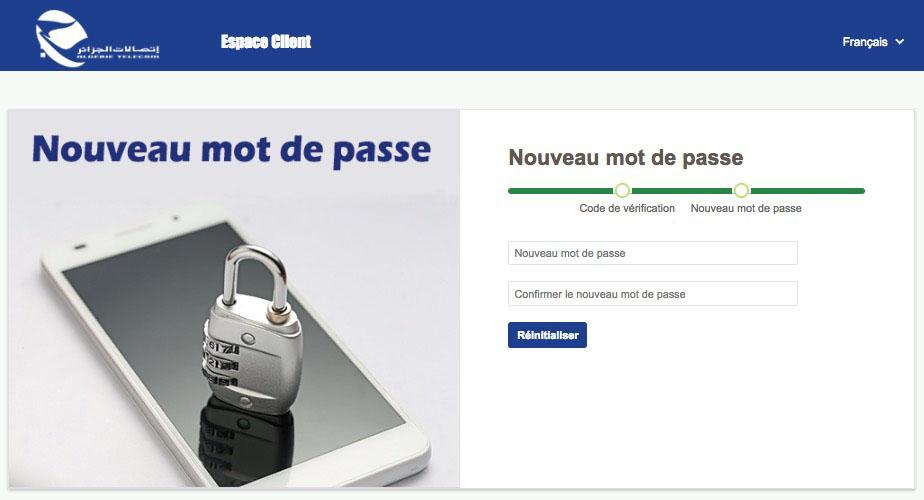 Choix du mot de passe de l'espace client d'Algérie Télécom