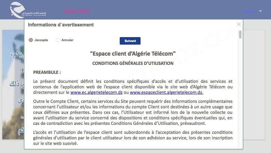 Contrat d'utilisation de la plateforme espace client d'AT