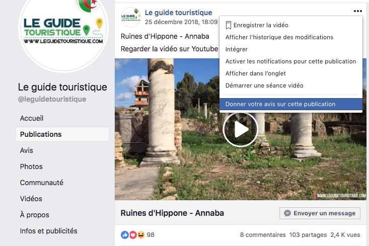 Demande de suppression d'une vidéo Facebook