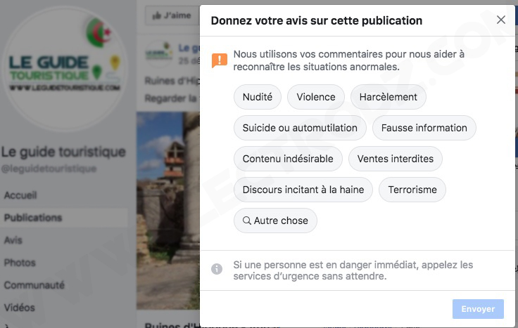 Raison de suppression d'une vidéo Facebook