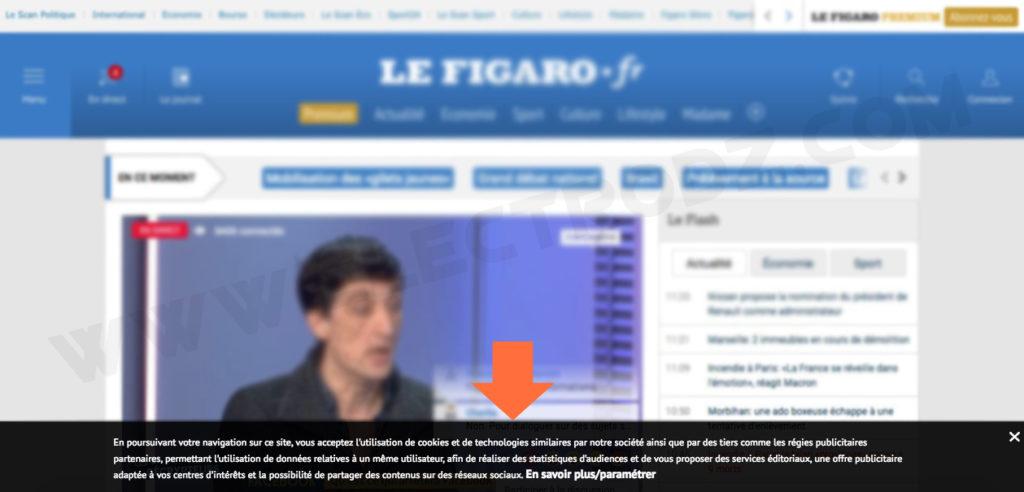 """Le site """"Le Figaro"""" demande l'autorisation pour utiliser les Cookies"""