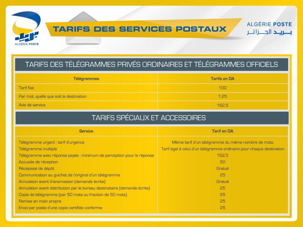 Tarifs des télégrammes privés ordinaires et télégrammes officiels / tarifs spéciaux et accessoires