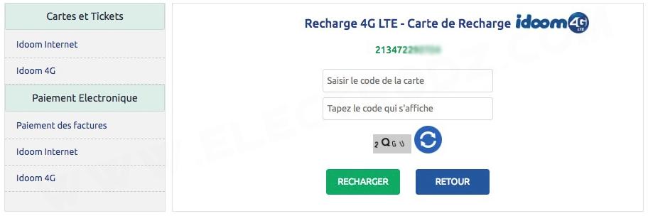 Formulaire de rechargement 4G